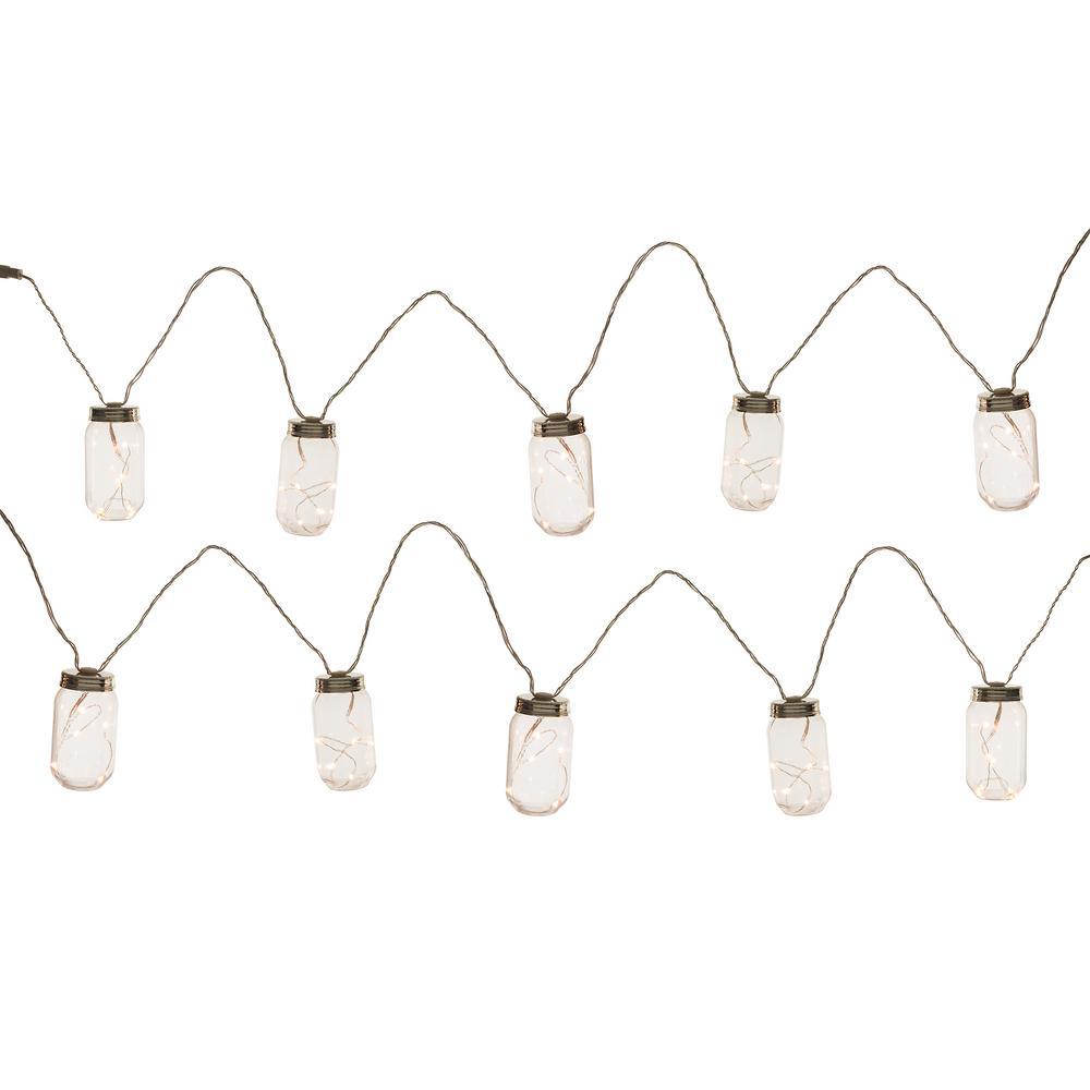 Hampton Bay 10-Light Plastic Mason Jar Patio String Lights