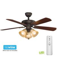 Clarkston 44 in. Indoor Oil Rubbed Bronze Ceiling Fan with ...