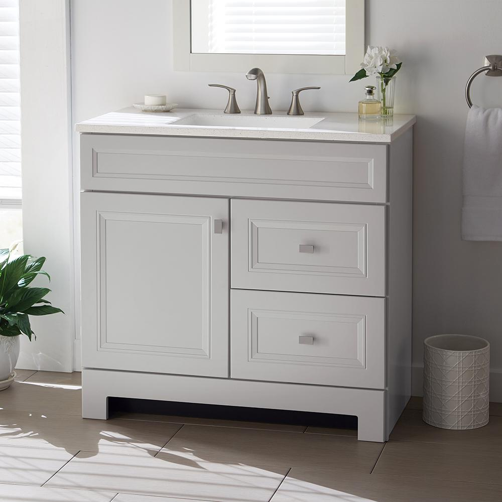 Vanities Bathroom Home Decorators Collection Sedgewood 36 1 2 In W Bath Vanity In Dove Gray With Solid Surface Technology Vanity Top In Arctic With White Sink