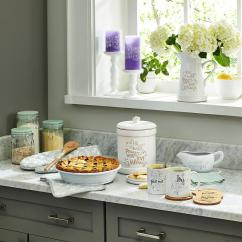 Kitchen Canister Counters And Cabinets Precious Moments Eat Well Pray Often Love Always Ceramic 173413 The Home Depot
