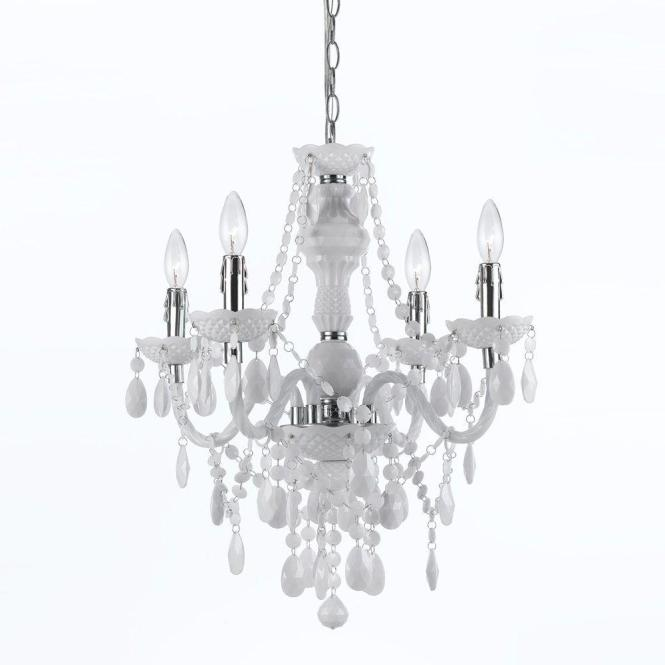 Af Lighting Naples 4 Light Chrome Mini Chandelier With White Plastic Bead Accents