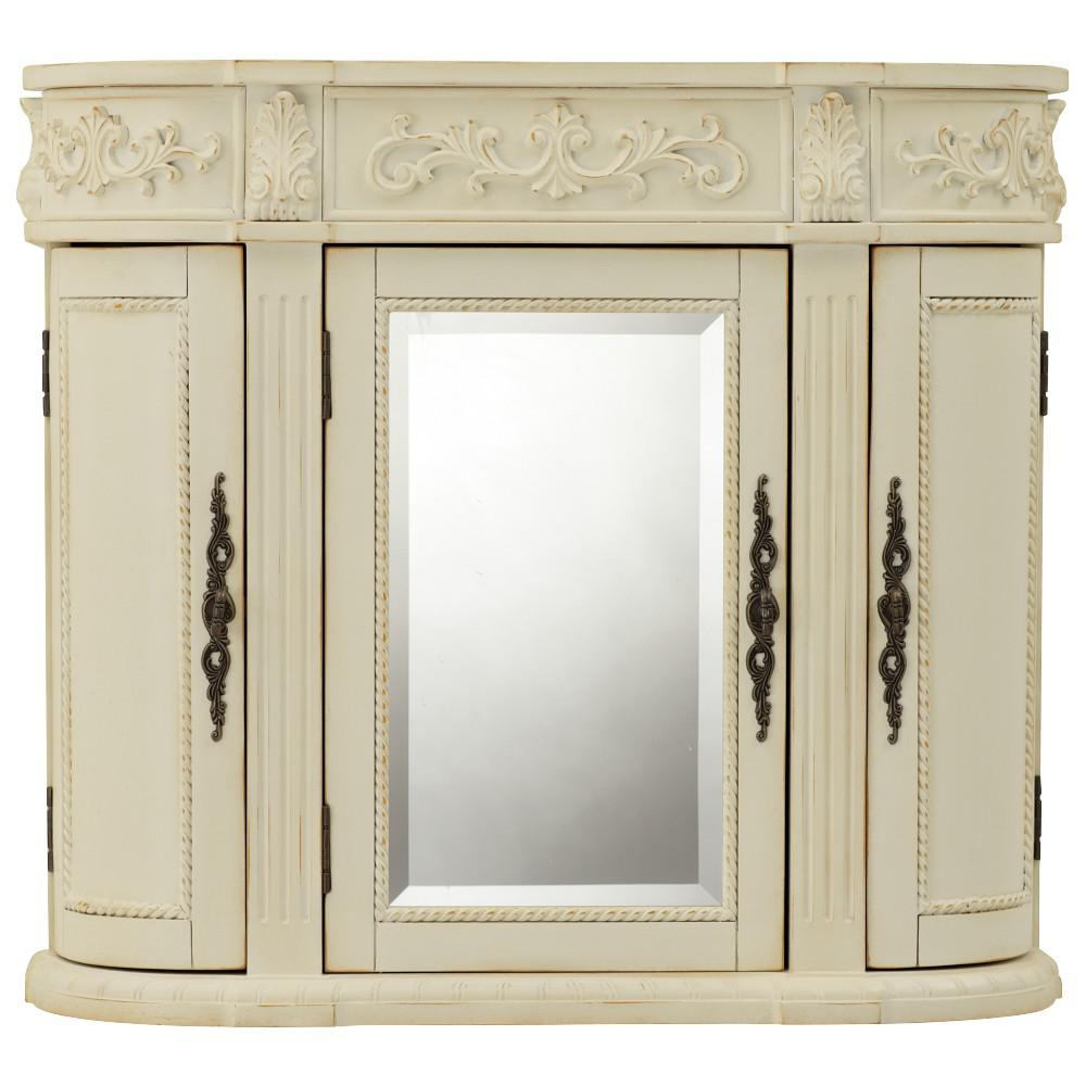 Wall Cabinets For Bathrooms Home Decorators Collection Chelsea 31 1 2 In W Bathroom Storage Wall Cabinet With Mirror In Antique White