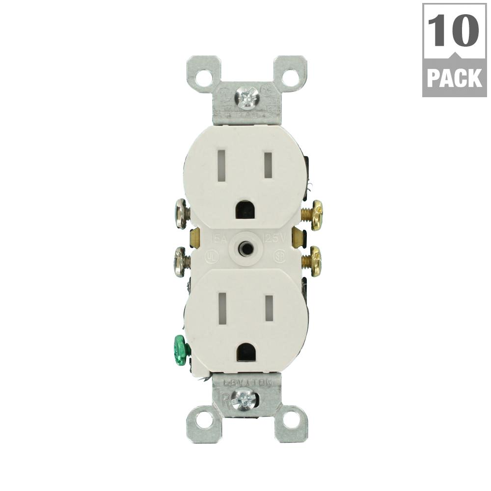medium resolution of 15 amp tamper resistant duplex outlet finish white 10 pack max wiring room