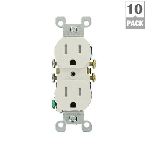 small resolution of 15 amp tamper resistant duplex outlet finish white 10 pack max wiring room