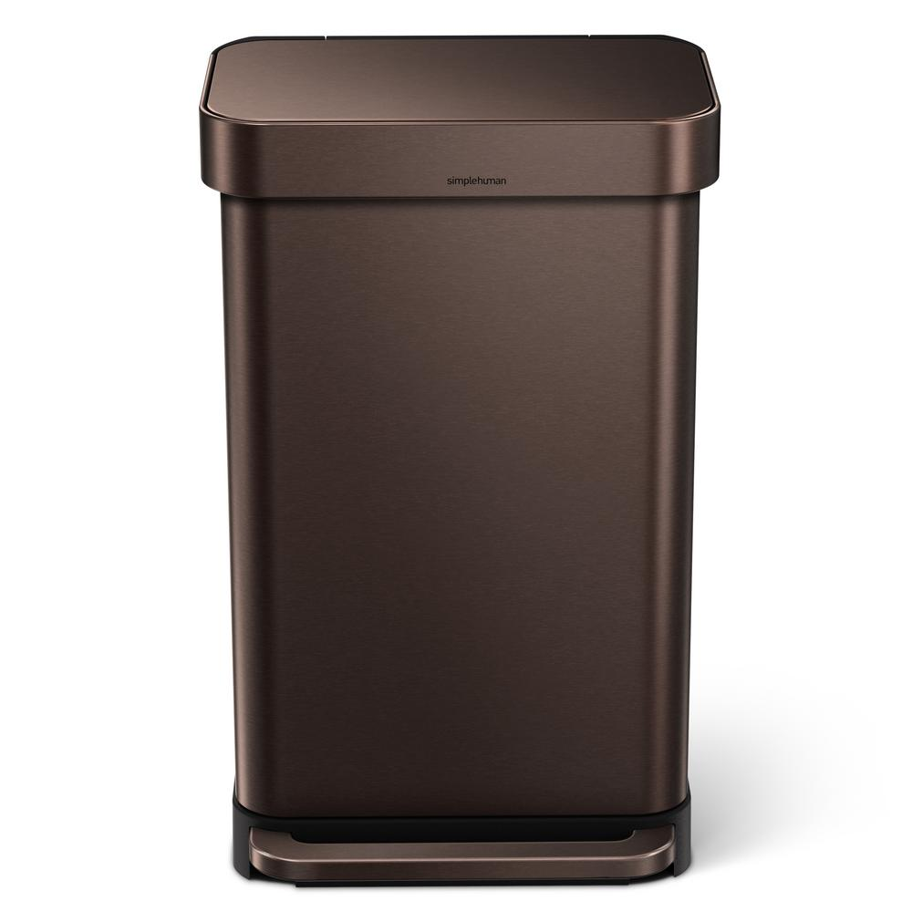 simplehuman kitchen trash can cabinet doors 45 liter dark bronze stainless steel rectangular liner rim step on