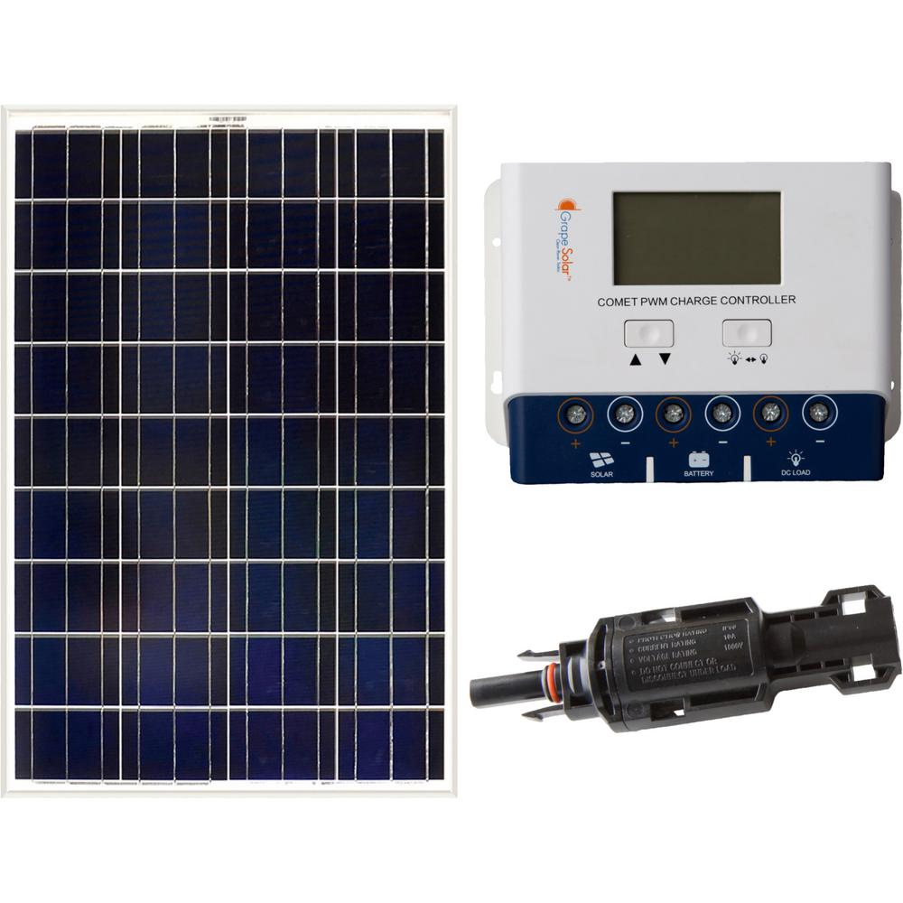 hight resolution of grape solar 100 watt off grid solar panel kit gs 100 kit the home wiring 4 wire 220 to 3 prong plug as well solar panel prices