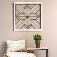 Stratton Home Decor Square Metal and Wood Art Deco Wall ...