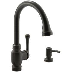 Bronze Kitchen Faucet Pull Down Oak Table And Chairs Kohler Carmichael Single Handle Sprayer In Oil Rubbed