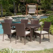 Noble House Hope Multi-brown 7-piece Wicker Outdoor Dining
