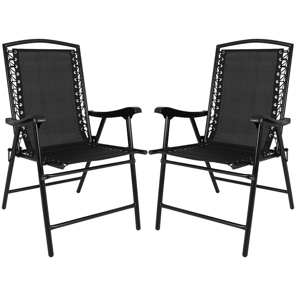 Foldable Lawn Chairs Sunnydaze Decor Black Sling Folding Beach Lawn Chairs Set Of 2