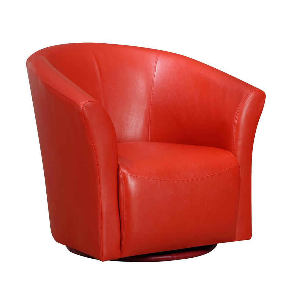 Red Leather Swivel Chair Radford Red Swivel Chair Urt891100swca The Home Depot