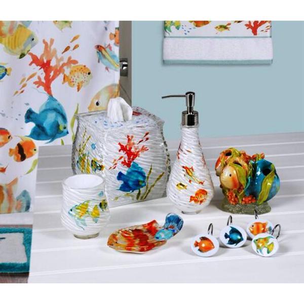 Rainbow Fish 6-piece Bath Accessory Set In Multi-color-rbf06mult - Home Depot