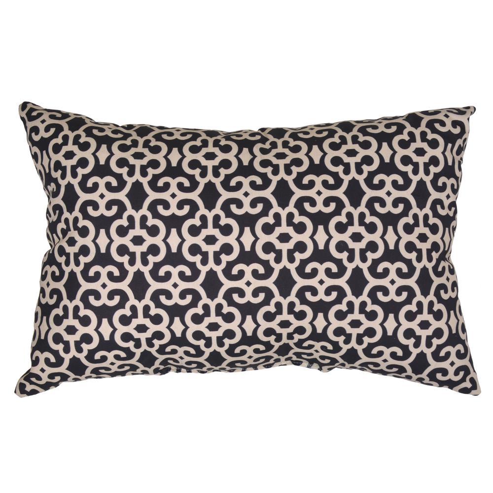 Hampton Bay Black Trellis Lumbar Outdoor Throw Pillow7955