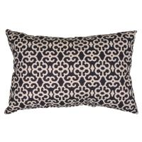 Hampton Bay Black Trellis Lumbar Outdoor Throw Pillow