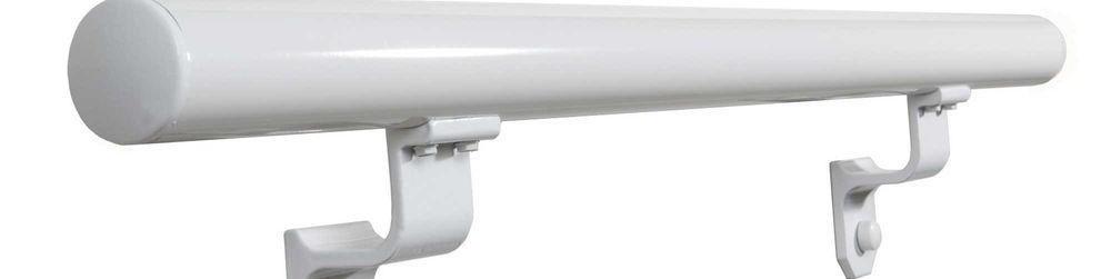 Ez Handrail 3 Ft White Aluminum Round Straight Hand Rail Kit   Graspable Handrail Home Depot   Fence   Deck Railing   Ada Compliant   Stair Handrail   Stair Rail