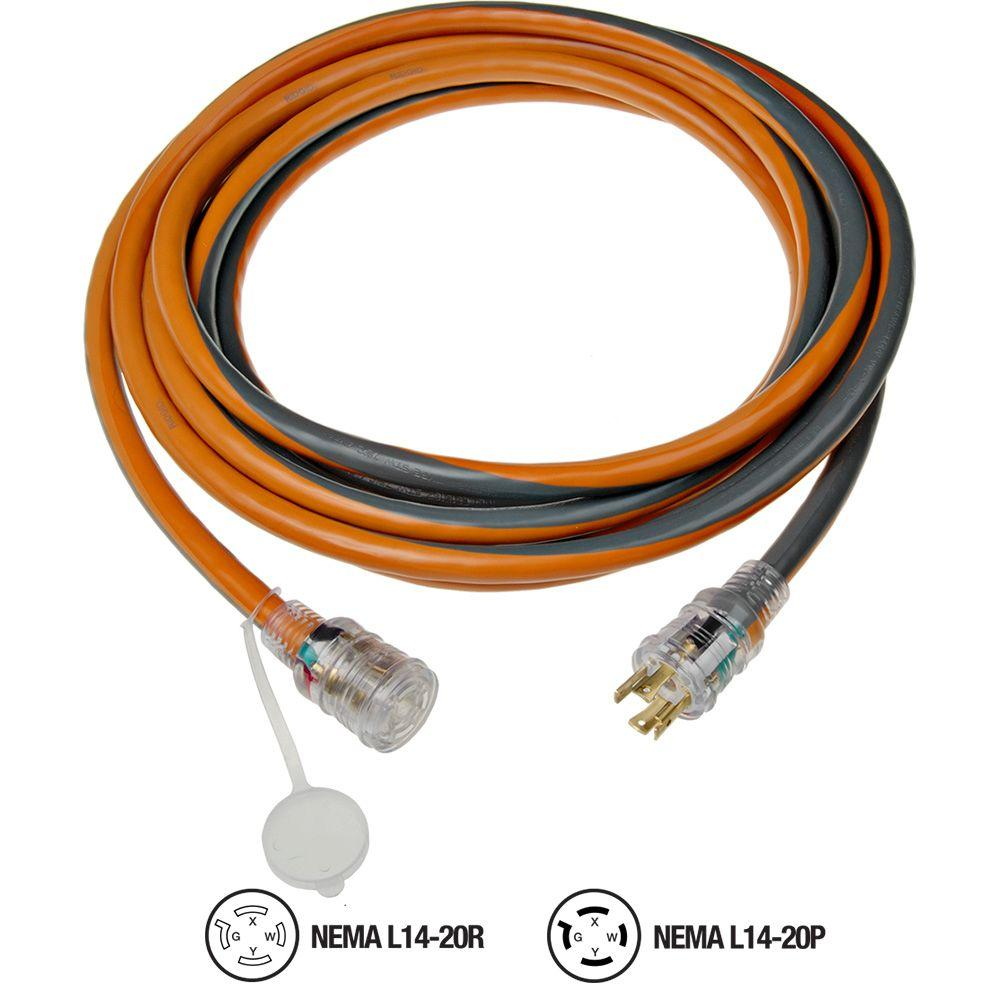 hight resolution of ridgid 25 ft 12 4 generator cord 615 16046ab the home depot 20 amp extension cord wiring diagram