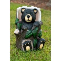 Alpine Bear Sitting In Tree Trunk Statue With Color