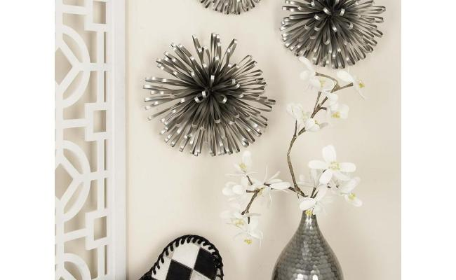 Modern Iron Round Loop Bands Wall Decor In Silver Set Of
