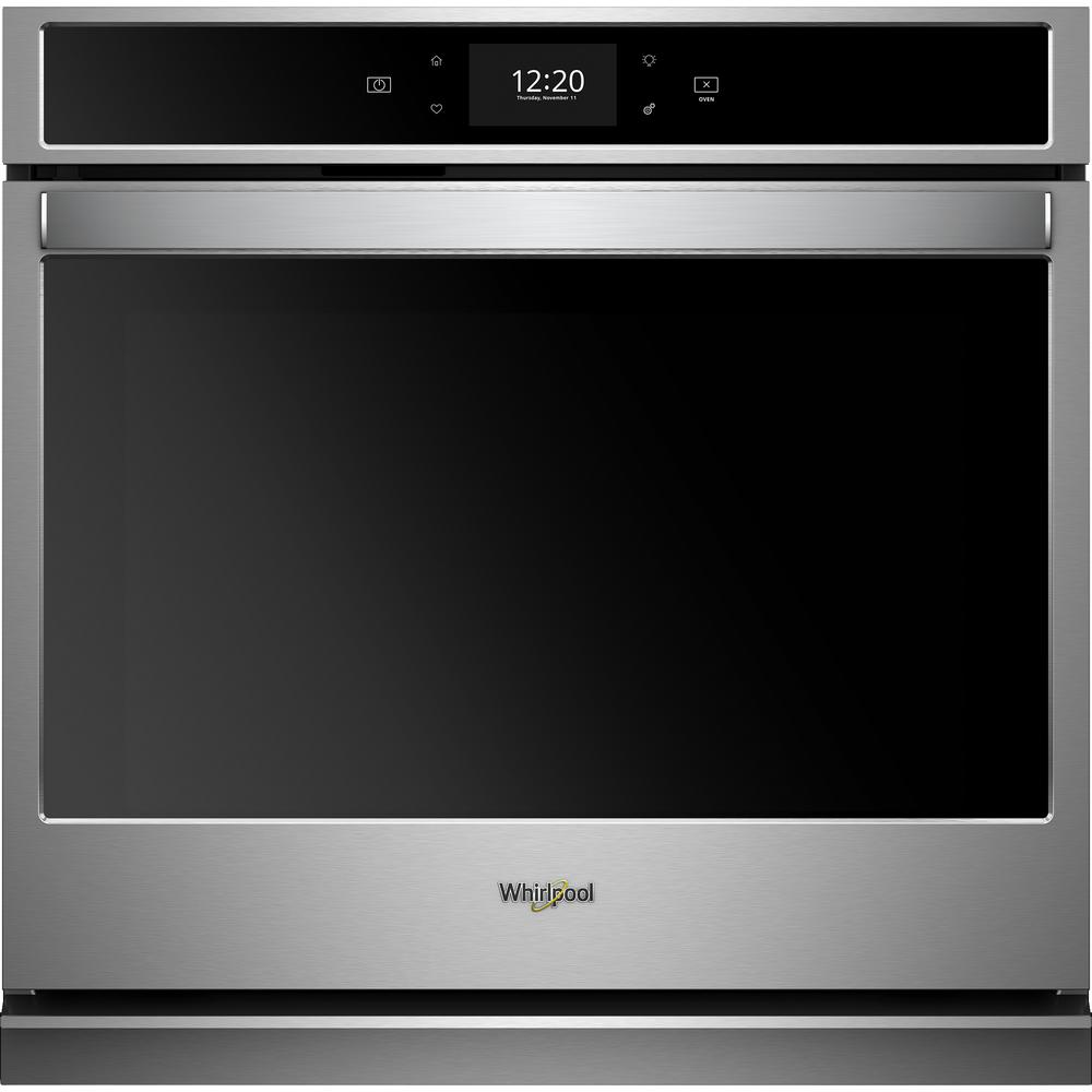 hight resolution of smart single electric wall oven with true convection cooking in black on stainless steel