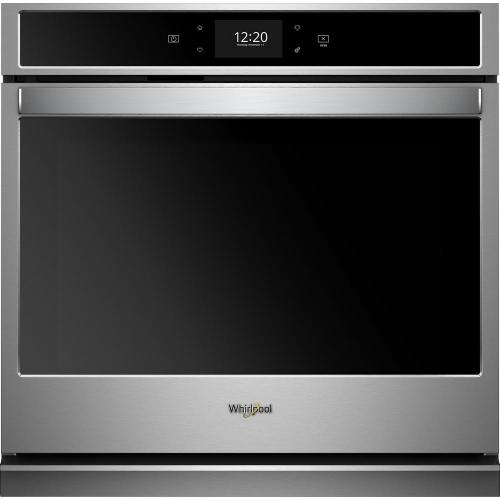 small resolution of smart single electric wall oven with true convection cooking in black on stainless steel