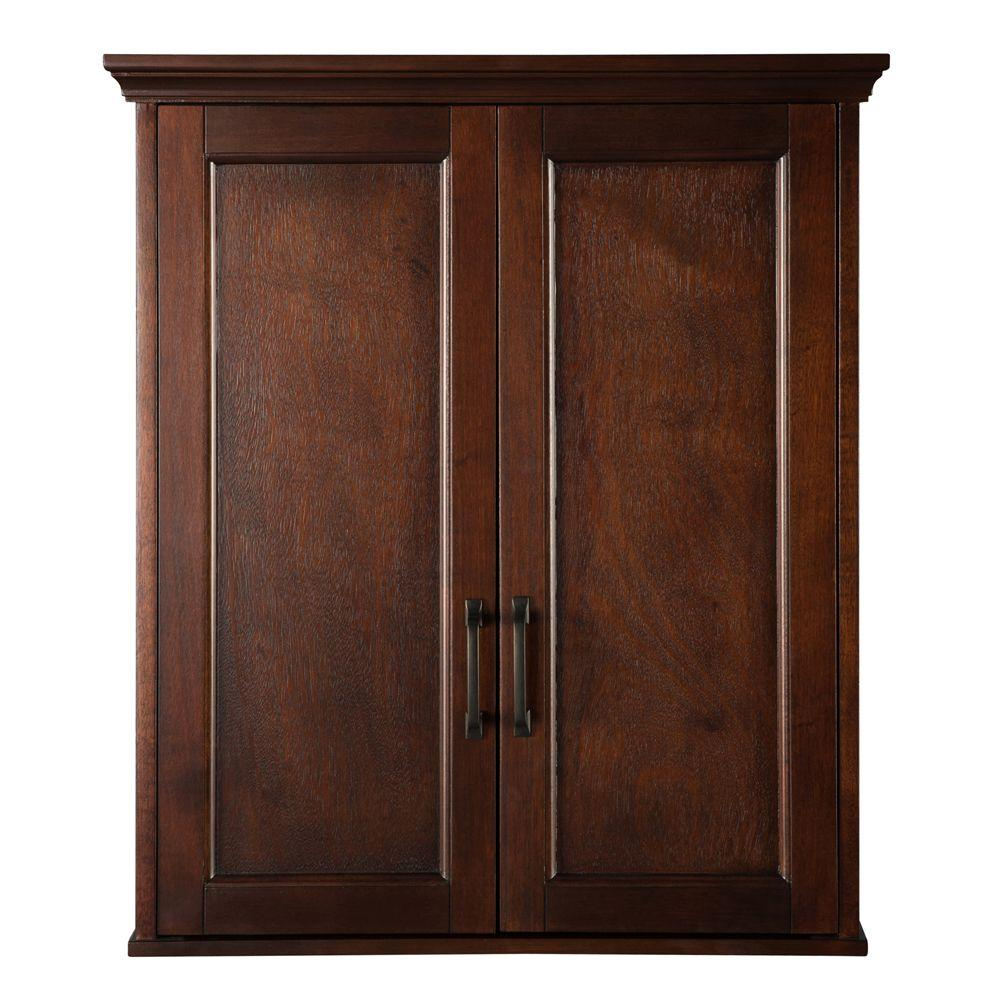 Wall Cabinet Adjustable Shelves Mahogany Hardware Wood Two