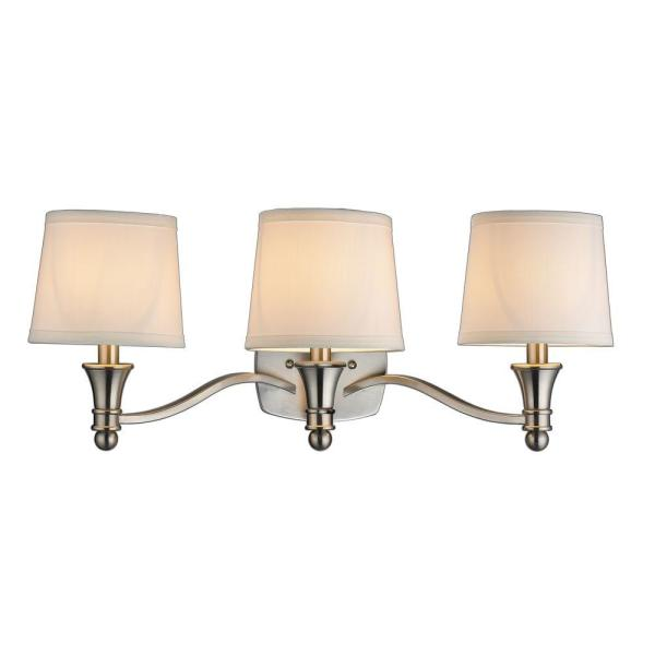 Hampton Bay Towne 3-light Brushed Nickel Bath Bar Light