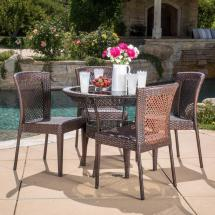 Noble House Lilly Multi-brown 5-piece Wicker Outdoor