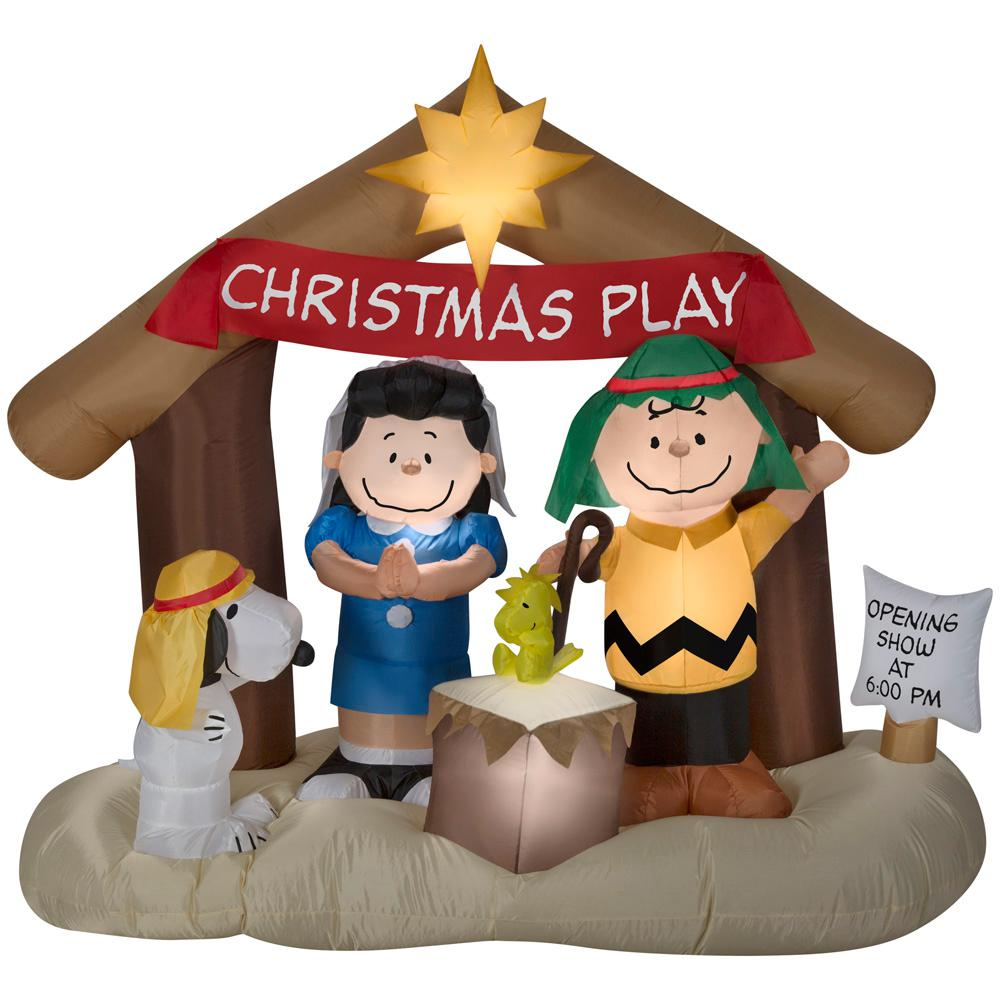 Airblown Holiday 6 Ft W Pre Lit Peanuts Nativity Scene 88124 The Home Depot