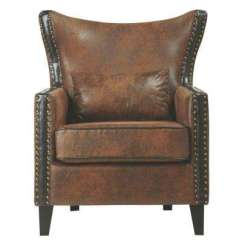 Suede Living Room Furniture Wooden Chair Faux The Home Depot Meloni Brown Bonded Leather Arm
