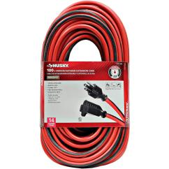 3 Prong Extension Cord Wiring Diagram Kenwood Kdc Manual Husky 100 Ft 14 Indoor Outdoor Red And Black