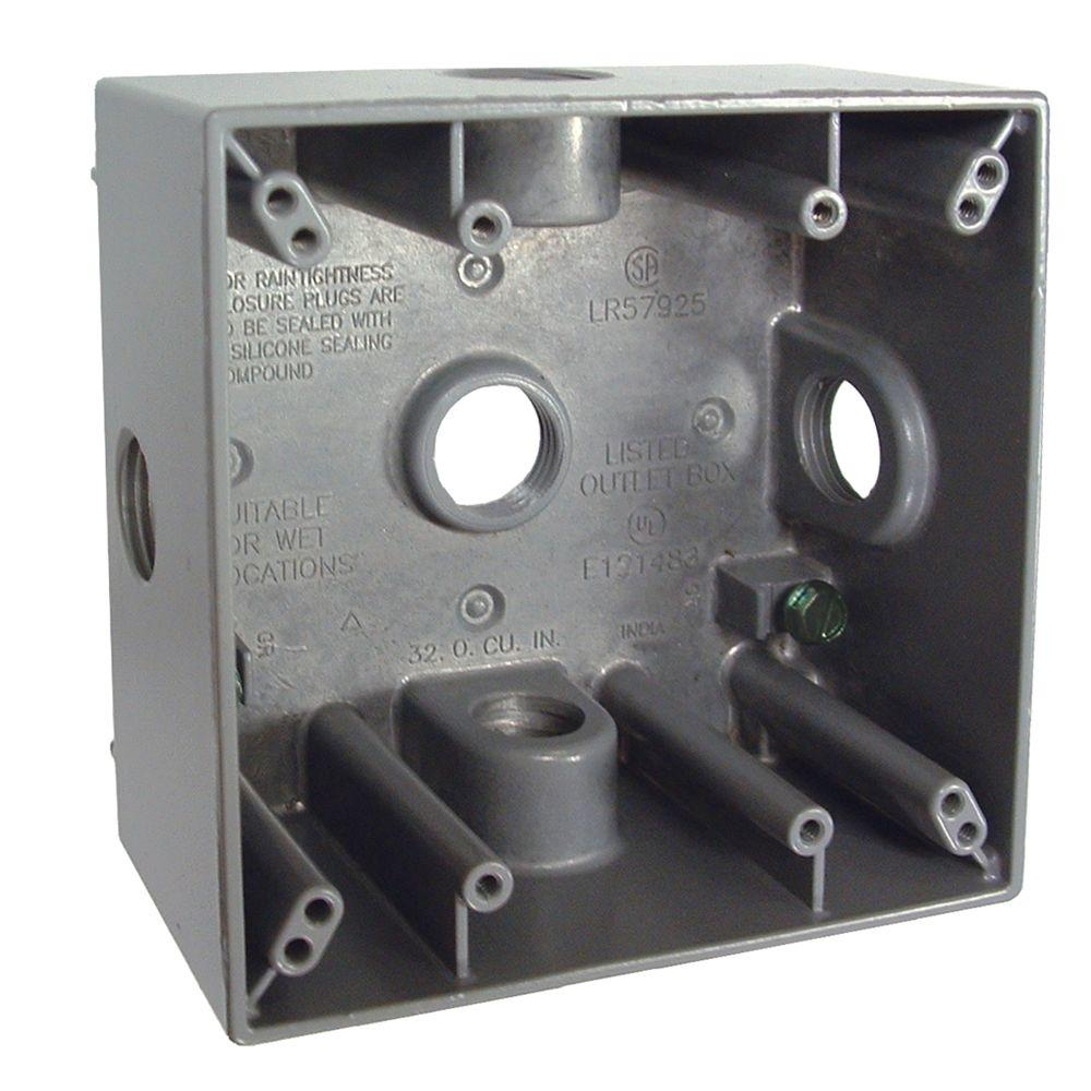 hight resolution of 2 gang weatherproof box with five 1 2 in outlets