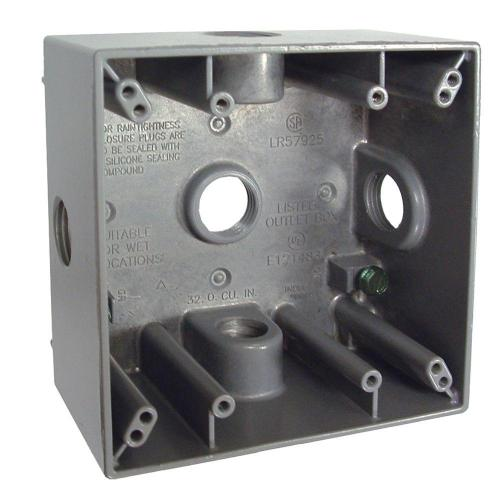 small resolution of 2 gang weatherproof box with five 1 2 in outlets