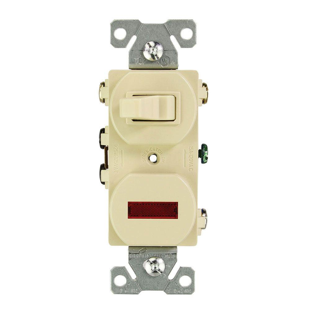 3 way switch with pilot light diagram xtrons wiring eaton 15 amp 120 volt combination and ivory