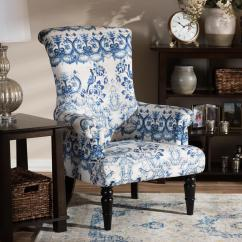 Blue Chair Living Room Theme Colours Baxton Studio Darlington Print Fabric Upholstered 28862