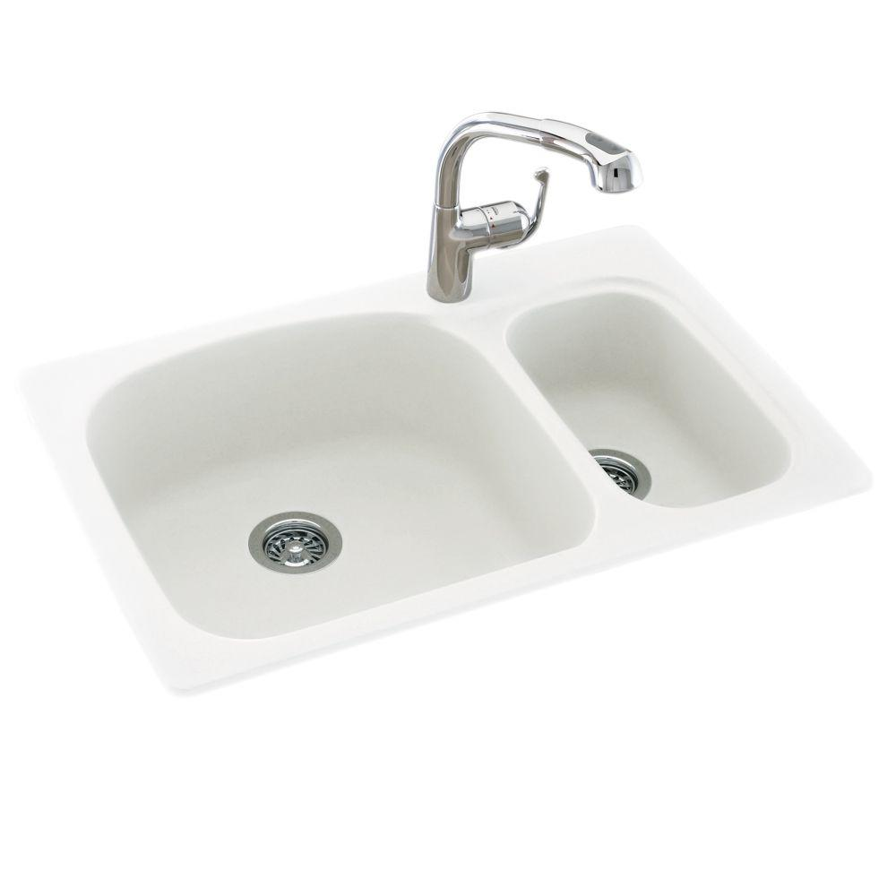 small kitchen sinks exhaust fan installation swan drop in undermount solid surface 33 1 hole 70 30 double bowl sink white