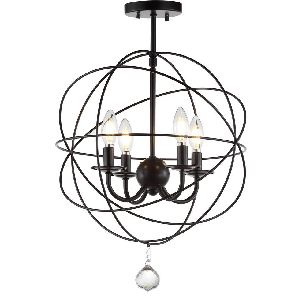 JONATHAN Y Alma 12 in. Oil Rubbed Bronze Metal LED Flush