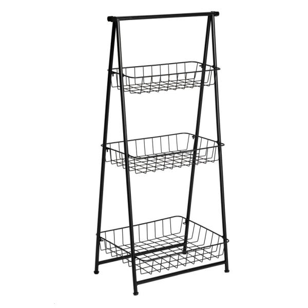 Honey-Can-Do Black 3-Tier Metal Wire Shelving Unit (15 in
