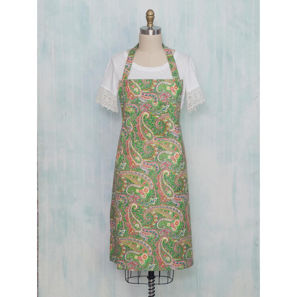 kitchen aprons booth seating april cornell jamavar green paisley chef apron apjamf
