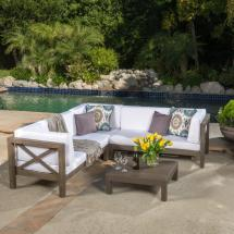 Noble House Brava Gray 4-piece Wood Outdoor Sectional Set