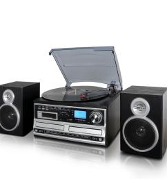 3 speed turntable with wired shelf speakers fm radio and cd usb sd recording [ 1000 x 1000 Pixel ]