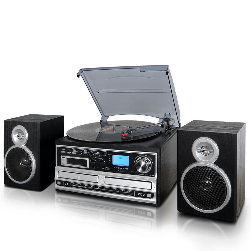 medium resolution of 3 speed turntable with wired shelf speakers fm radio and cd usb sd recording