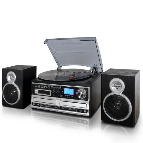 small resolution of 3 speed turntable with wired shelf speakers fm radio and cd usb sd recording