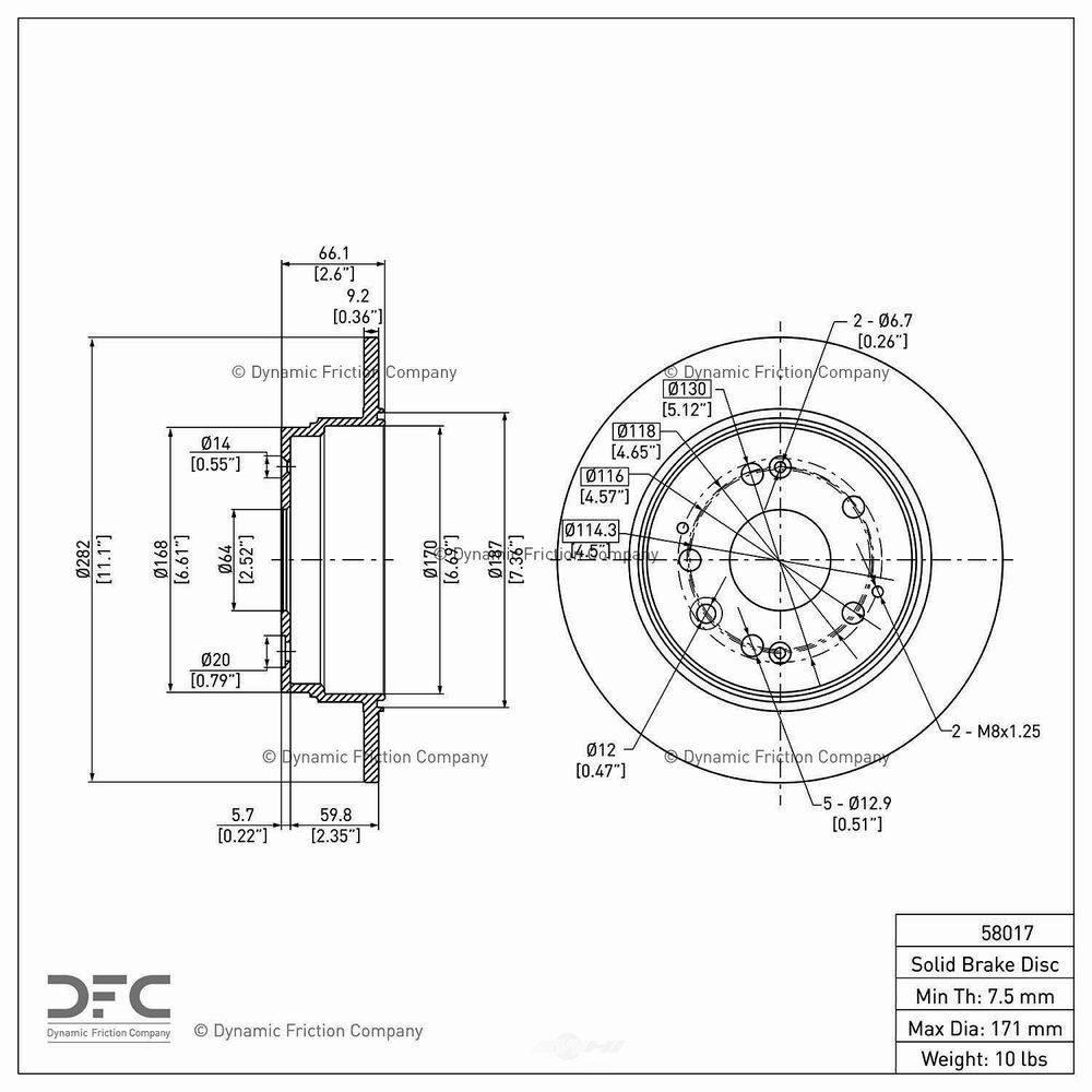 DYNAMIC FRICTION COMPANY Disc Brake Rotor 2001-2003 Acura