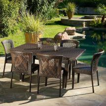 Noble House Dusk Multi-brown 7-piece Wicker Outdoor Dining