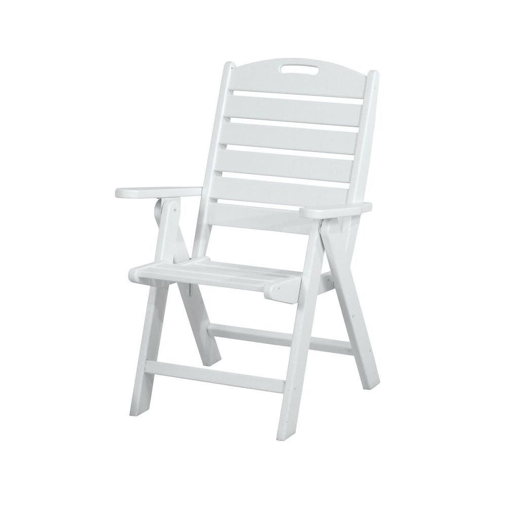 White Outdoor Lounge Chair Polywood Nautical Highback White Plastic Outdoor Patio Dining Chair
