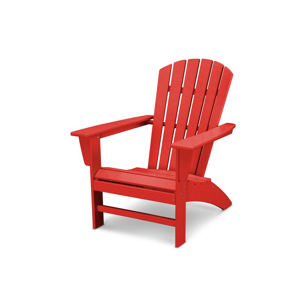 Red Adirondack Chairs Polywood Traditional Curveback Sunset Red Plastic Outdoor Patio Adirondack Chair