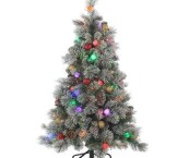 Flocked Christmas Tree With Pine Cones