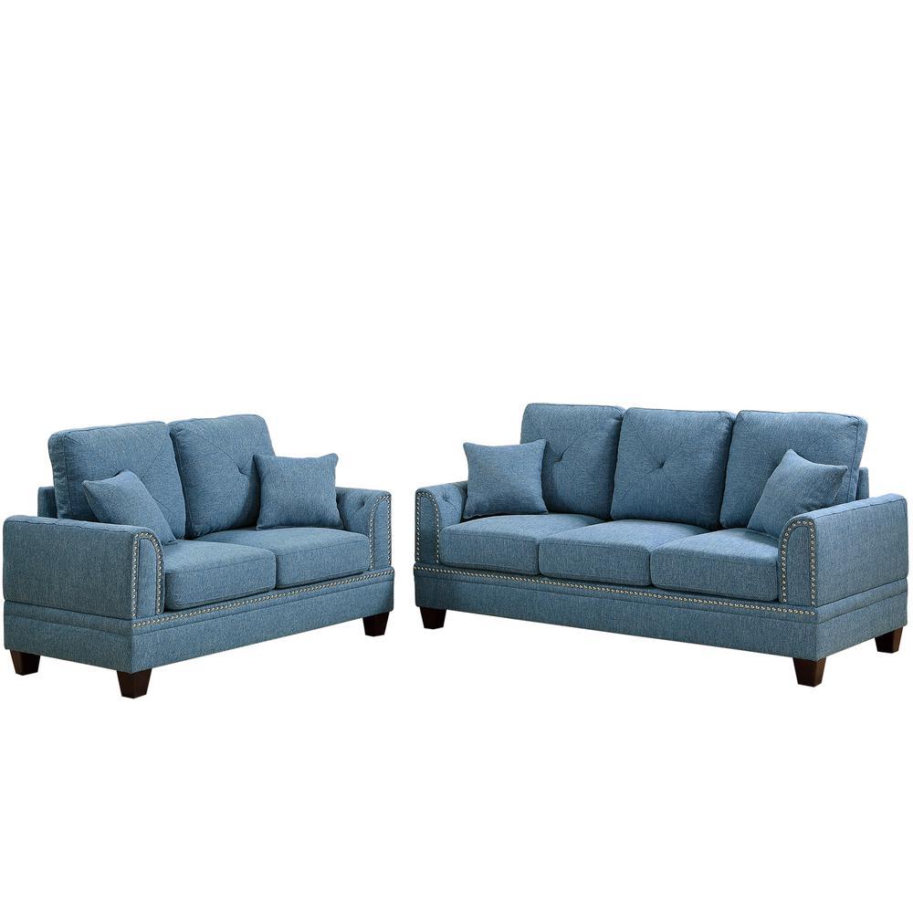 blue living room sets pottery barn chairs furniture the home depot majella 2 piece sofa set