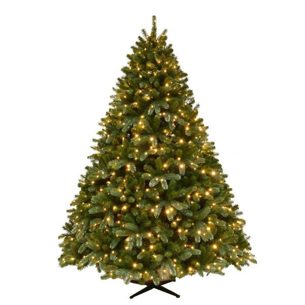 Home Accents Holiday 7.5 Ft. Pre-lit Grand Fir Quick Set Artificial Christmas Tree With