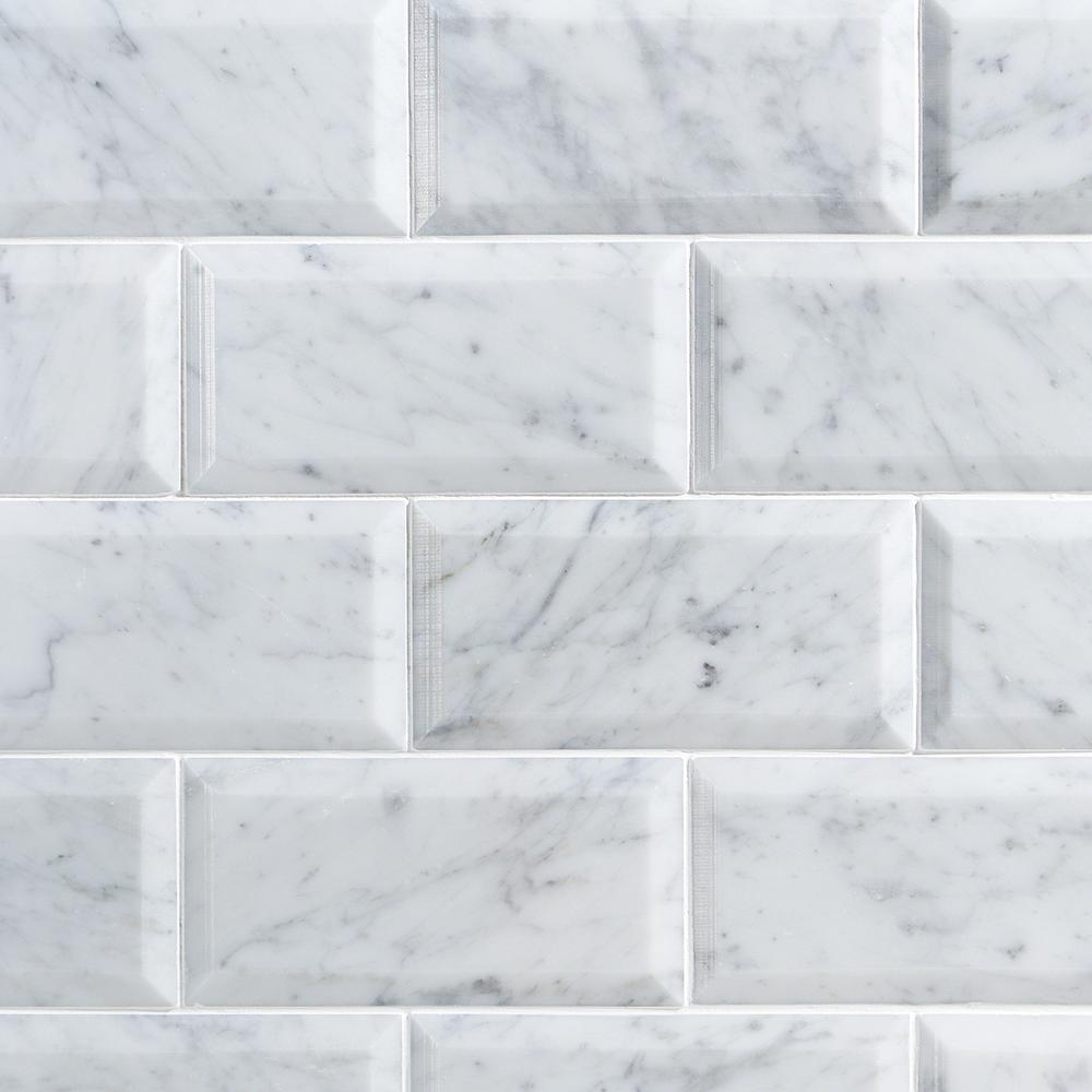 botticino marble 6x12 beveled polished